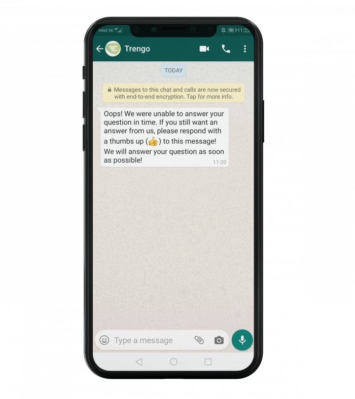 Example of a WhatsApp Business template for after 24 hours.
