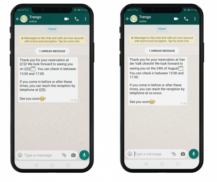 Example of a reservation update template in WhatsApp Business.