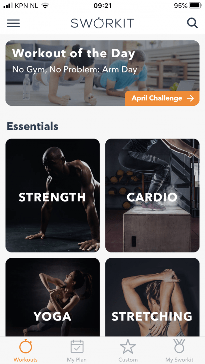 Fitness app for working from home