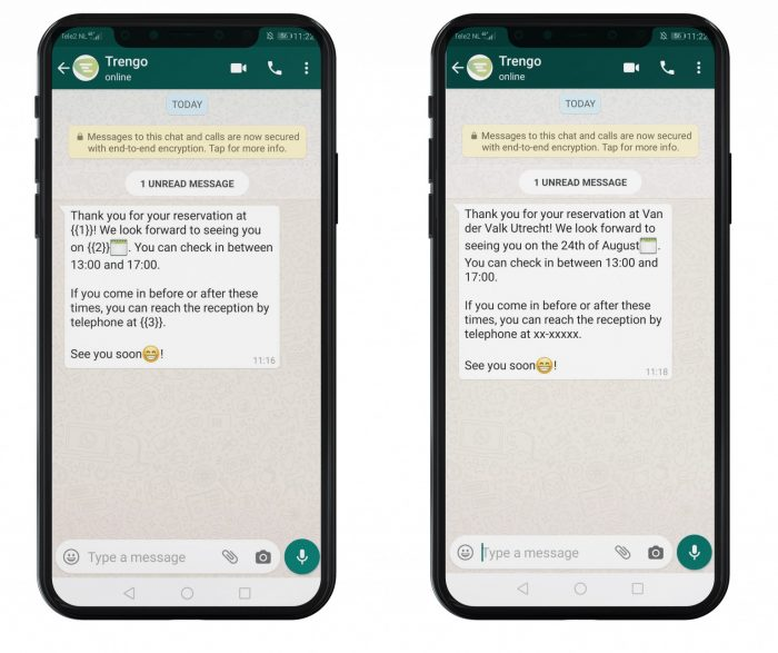 WhatsApp Business template message voorbeeld