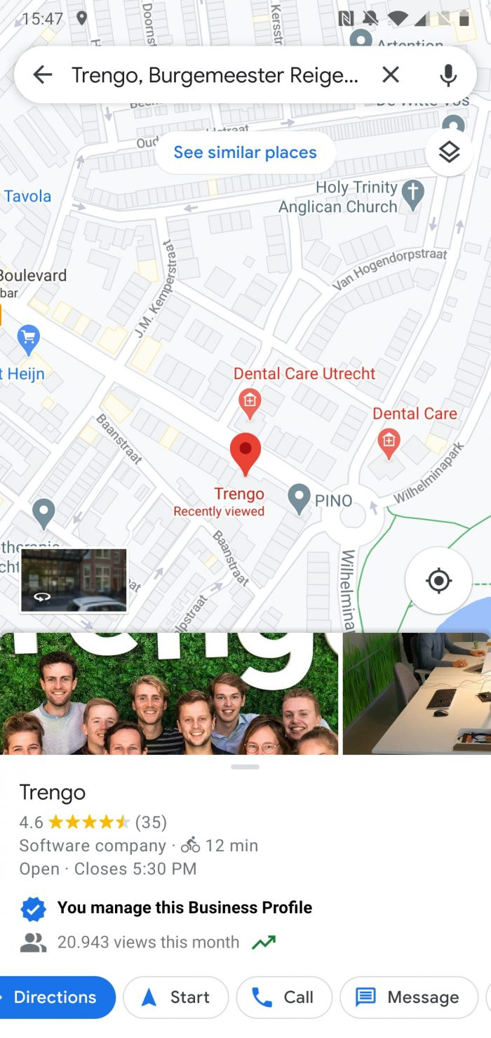 Google Business Messages in Google Maps