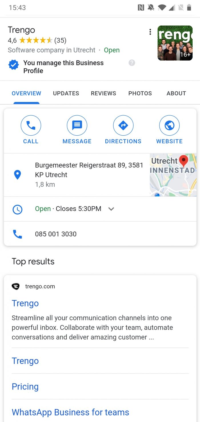 Google Business Messages in Google search