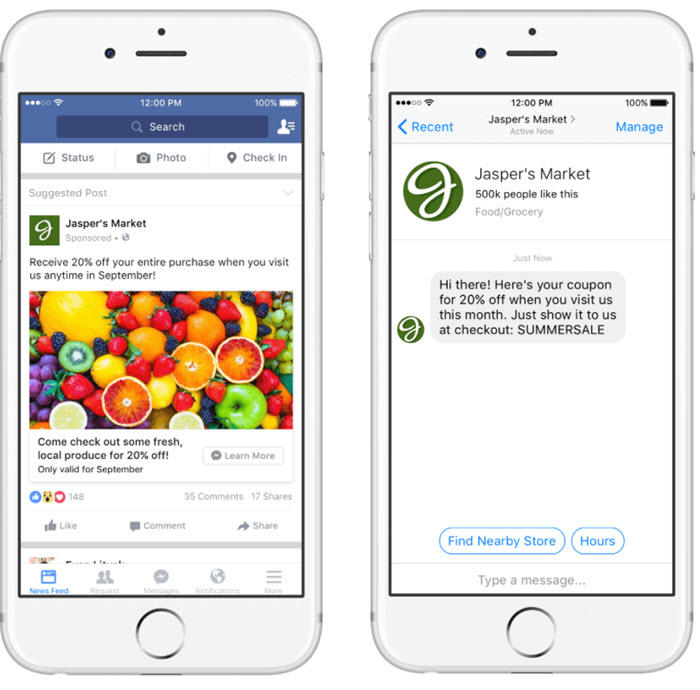 Click-to-Message ad Facebook Messenger