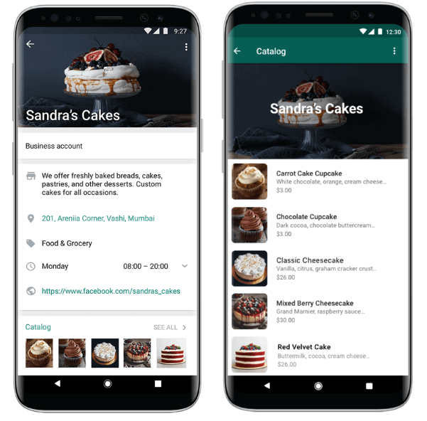 Product catalog in WhatsApp Business