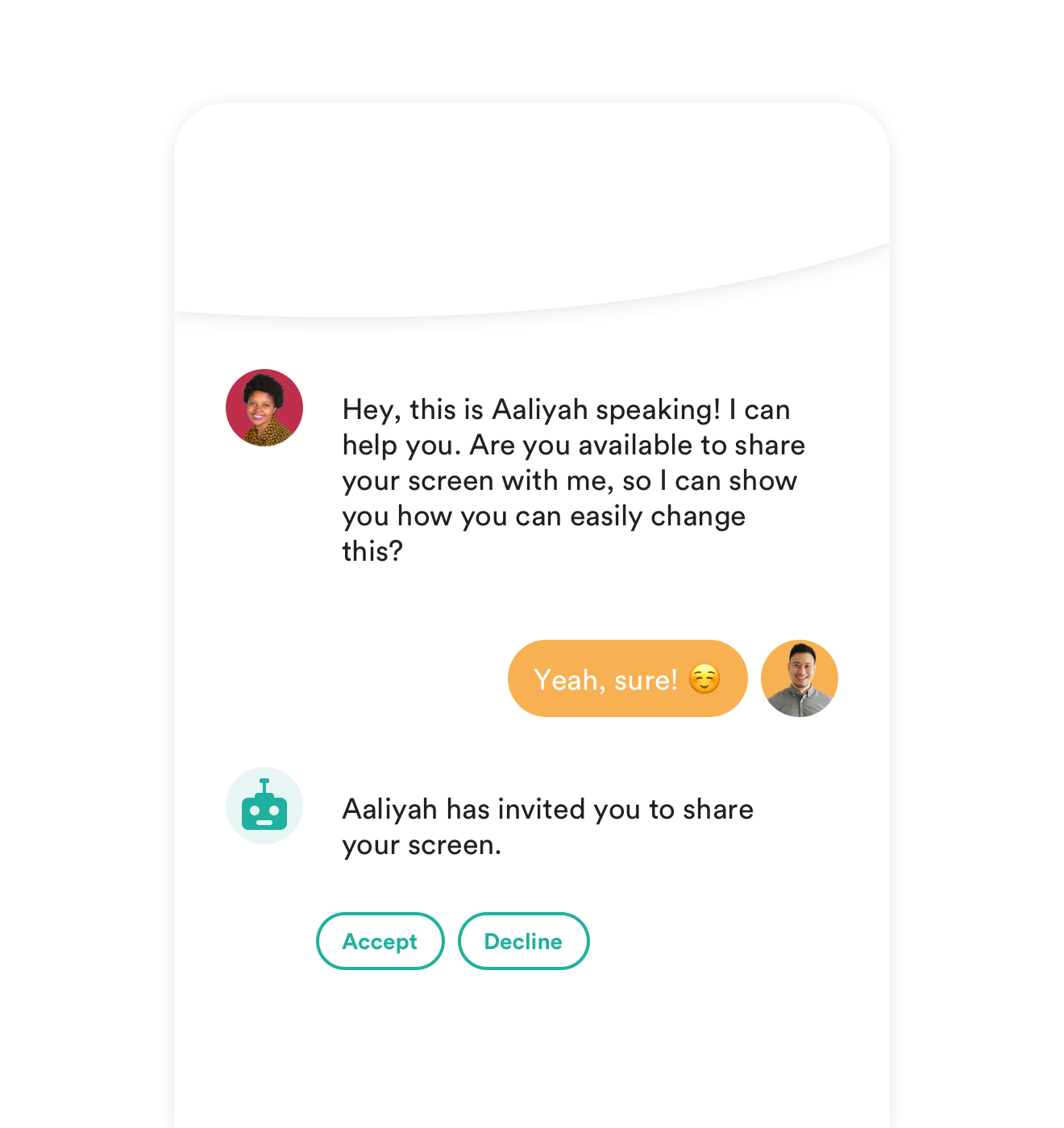 screen-sharing feature for live chat